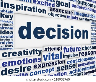 Decision message background. Making a choice management poster design
