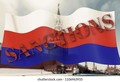 Decision on sanctions against Russia. Broken text. Sanction on Russia flag waving in the wind. over the Spasskaya tower of the Kremlin