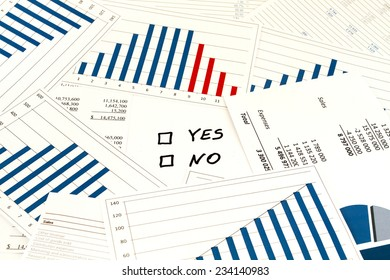 Decision yes or no with financial charts