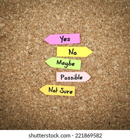 Decision / Yes, No, Maybe , Possible and Not Sure Options on Cork Board