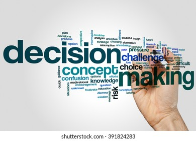Decisionmaking concept word cloud background