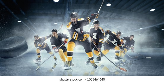 Decisive throw of the puck and goal. Collage from three models about ice hockey players in action on ice. Male professional athletes swinging his stick before a decisive blow. Tension and rage. Sports