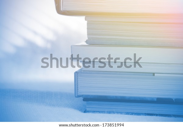 Deck of books with soft light