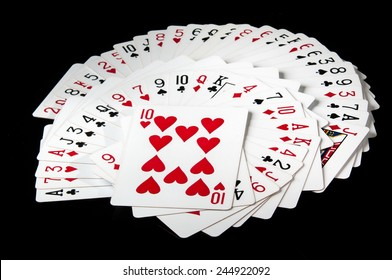 Deck of card with black background