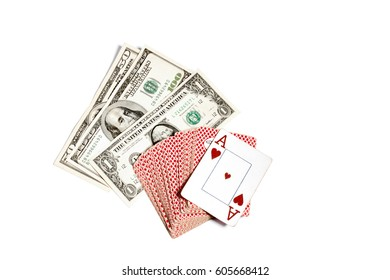 A deck of cards ace worms one dollar, fifteen dollars, one hundred US dollars. American currency on white isolated background