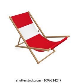 Deck chair with the colors of Peru, 3d rendering