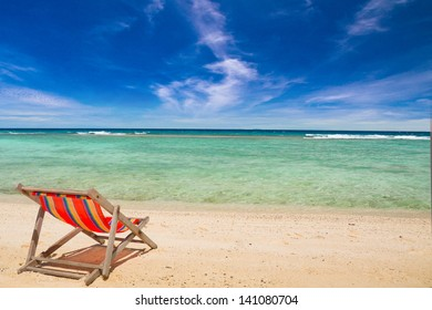 Deck chair on the beach at Nang yuan island , Thailand
