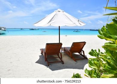 deck chair on the Maldives beach