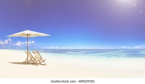 Deck chair on the tropical beach.