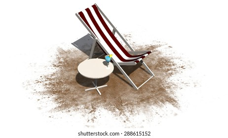 Deck chair and Table with cocktail isolated on white background