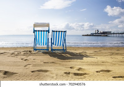 Deck Chairs on Sandown Beach on the Isle of Wight