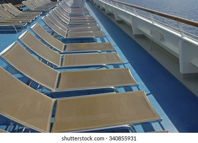 Deck chairs to sunbathing in a mediterranean cruiseship
