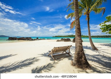 Deck chairs under palm trees on a beautiful white sand beach
