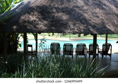 Deck chairs under thatched roof