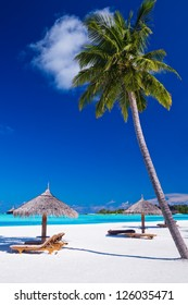 Deck chairs under umbrellas and palm trees in Maldives