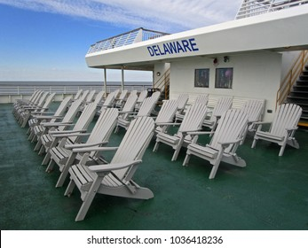 Deck chairs with a view of Delaware Bay from the Cape May (New Jersey) to Lewes (Delaware) ferry.
