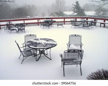 deck furniture in snow