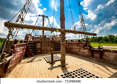 deck of the old ship and the blue sky behind