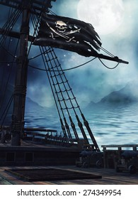 Deck of a pirate ship with the black flag at night