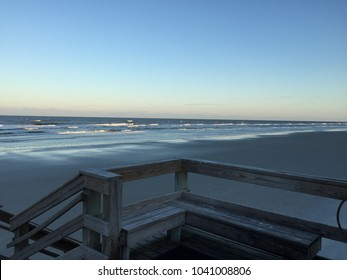 Deck Seats Overlooking New Smyrna Beach, Florida USA