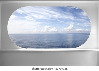 Deck ship window with a relaxing seascape view