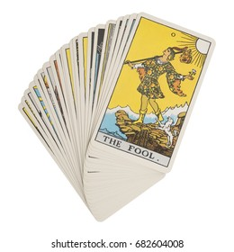 Deck of Tarot cards on white background ; THE FOOL.
