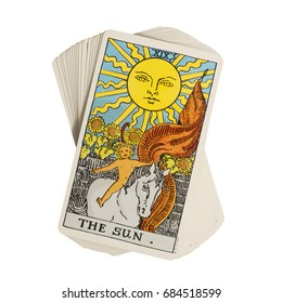 Deck of Tarot cards on white background ; THE SUN.