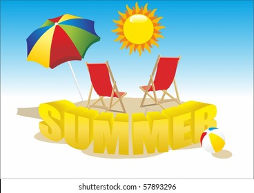 deckchair with umbrella, summer beach ball