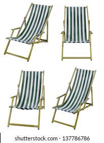 Deckchairs isolated on white with clipping path