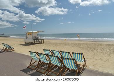 Deckchairs on beach at Bournemouth, Dorset