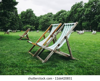 deckchairs in a park in London city centre