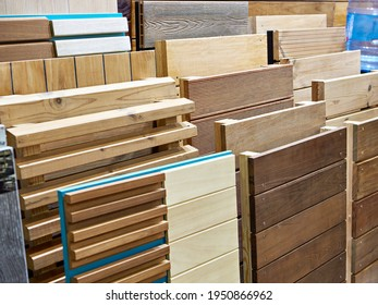 Decking on display in store. Wooden panels