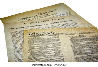 Declaration of Independence, Bill of Rights and Constitution of the United States of America isolated on white