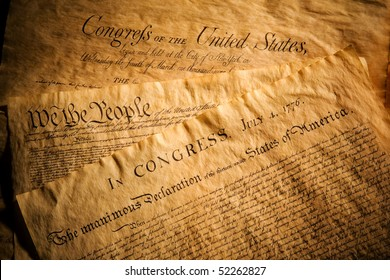 Declaration of Independence, Constitution and Bill of Rights, three of the most important documents in the history of the United States of America