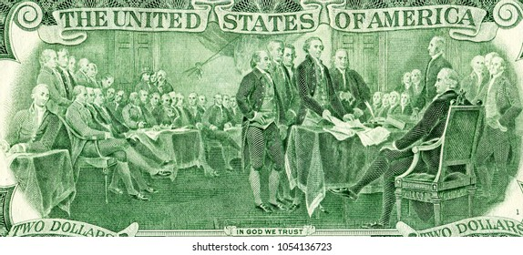Declaration of independence drawing from the two dollar banknote