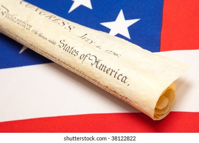 declaration of independence and ensign of the USA