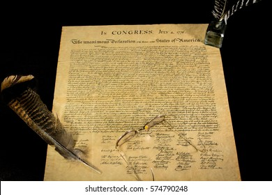 Declaration of Independence  with eyeglasses and Quill Pen