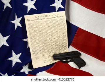 Declaration of Independence with Hand Gun, Horizontal