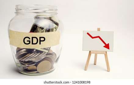 Decline and decrease of GDP - failure and breakdown of economy and finances leading to financial crisis and trouble. Drop in gross domestic product. Bank with money and down arrow
