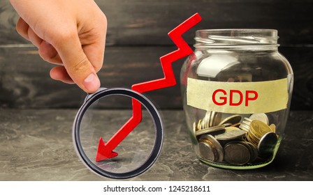 Decline and decrease of GDP - failure and breakdown of economy and finances leading to financial crisis and trouble. Drop in gross domestic product