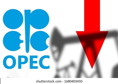 Decline in oil prices after OPEC negotiations. Concept - Negotiations led to a collapse in prices. Panic on stock exchange after OPEC meeting. Down arrow next to OPEC logo. Silhouettes of oil pumps