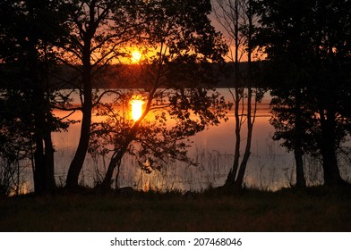 Decline over the lake Sermenok in the Tver region, the Ostashkovsky area. Russia