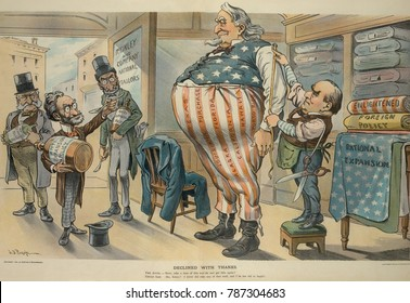 DECLINED WITH THANKS, political cartoon with Pres. McKinley measured by Uncle Sam for new and bigger clothes. Anti-expansionists Carl Schurz, Joseph Pulitzer, and Oswald Ottendorfer, offer Uncle Sam a