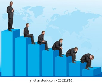 Declining chart - successful businessman turning into troubles