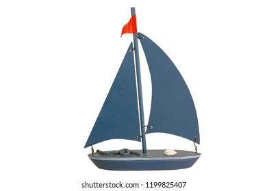 Decoarative toy Boat isolated on white background