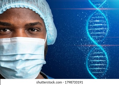 Decoding human DNA. Collage with black doctor in medical mask and deoxyribonucleic acid molecule, copy space