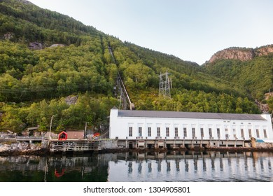 Decommissioned Florli hydroelectric power station at Lysefjord (Lysefjorden) fjord featuring the worlds longest wooden stairway with 4444 steps. Forsand  Rogaland county, Norway, Scandinavia