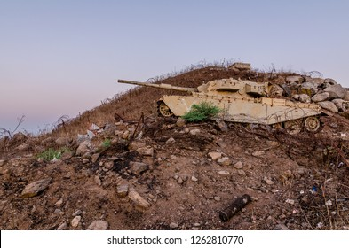 Decommissioned Israeli Centurion tank used during the Yom Kippur War at Tel Saki on the Golan Heights in Israel