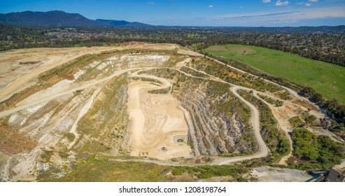 Decommissioned mine in Melbourne, Australia - aerial landscape