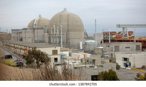 The decommissioned nuclear power plant of San Onofre. Many questions about waste disposal remain. Photo taken April 28, 2019, San Onofre, CA / USA